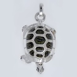 Anhänger Schildkröte in echt Sterling-Silber 925 emailliert, Ketten- oder Schlüssel-Anhänger