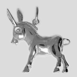 Anhänger Esel in echt Sterling-Silber 925, Kettenanhänger oder Schlüssel-Anhänger