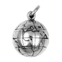 Anhänger Boule, Pétanque, Weltkugel, Erglobus in echt Sterling-Silber 925 oder Gold, Charm, Ketten- oder Bettelarmband-Anhänger