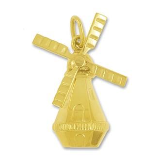 Anhänger Windmühle in echt Gold, Charm, Ketten- oder Bettelarmband-Anhänger