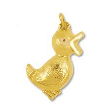 Anhänger Ente in echt Gelbgold 585, Charm, Ketten- oder Bettelarmband-Anhänger