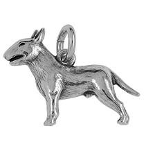 Anhänger Bull Terrier, Hund in echt Sterling-Silber 925 oder Gold, Ketten- oder Schlüssel-Anhänger