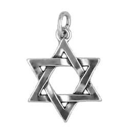 Anhänger Davidstern in echt Sterling-Silber 925 oder Gold, Charm, Ketten- oder Bettelarmband-Anhänger
