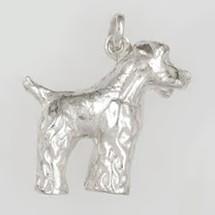 Anhänger Foxterrier, Hund in echt Sterling-Silber 925, Charm, Ketten- oder Bettelarmband-Anhänger