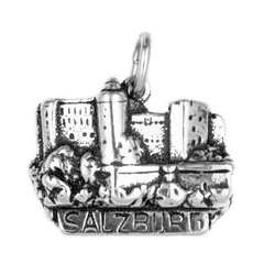 Anhänger Salzburg, Festung Hohensalzburg in echt Sterling-Silber oder Gold, Charm, Ketten- oder Bettelarmband-Anhänger