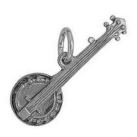 Anhänger Banjo in echt Sterling-Silber 925 oder Gold, Charm, Ketten- oder Bettelarmband-Anhänger
