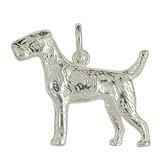 Anhänger Terrier, Hund in echt Sterling-Silber 925 oder Gelbgold, Ketten- oder Schlüssel-Anhänger