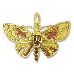 Anhänger Schmetterling, Falter in echt Gelbgold emailliert, Ketten- oder Schlüssel-Anhänger