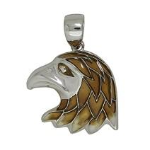 Anhänger Adlerkopf in echt Sterling-Silber emailliert, Ketten- oder Schlüssel-Anhänger