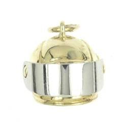 Anhänger Bob-Fahrer Helm mit Visier echt Gold, Charm, Ketten- oder Bettelarmband-Anhänger
