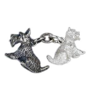 Anhänger Scottish & West Highland White Terrier in echt Sterling-Silber 925, Ketten- / Schlüssel-Anhänger.