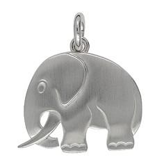Anhänger Elefant in echt Sterling-Silber oder Gelbgold, flach, gebürstet, Kettenanhänger oder Schlüssel-Anhänger