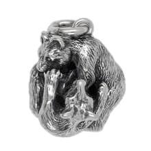 Anhänger Kämpfende Bären in echt Sterling-Silber 925 oder Gelbgold, Schlüsselanhänger oder Kettenanhänger