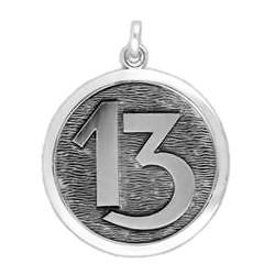 Anhänger Zahl Dreizehn in echt Sterling-Silber 925, Ketten- oder Schlüssel-Anhänger