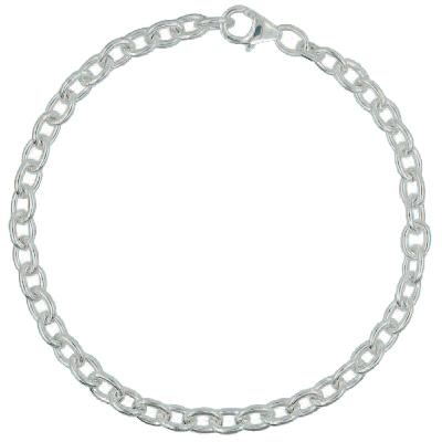 Armband / Ankerkette rund j282 mit Schmuck-Karabiner-Verschluss und beweglicher Öse in Silber 925/000 für Anhänger oder Charms - j284