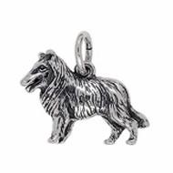 Anhänger Collie, Hund in echt Sterling-Silber 925 oder Gold, Charm, Ketten- oder Bettelarmband-Anhänger