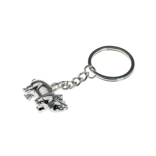 Schlüsselanhänger Schwein hochwertig versilbert, Glücksbringer
