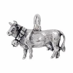 Anhänger Kuh in echt Sterling-Silber 925 und Gold, Ketten- oder Schlüssel-Anhänger