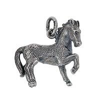 Anhänger Chinesisches Pferd, Tierkreiszeichen in echt Sterling-Silber 925 oder Gold, Ketten- oder Schlüssel-Anhänger