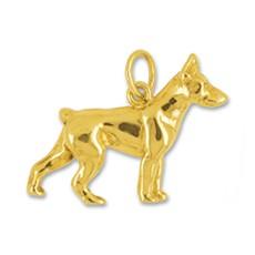 Anhänger Dobermann, Hund in echt Gelbgold 375, 585 oder 750, Charm, Ketten- oder Bettelarmband-Anhänger