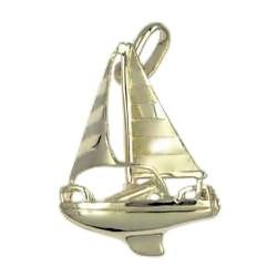 Anhänger Segelboot, Sportboot in echt Sterling-Silber 925 oder Gold, Charm, Ketten- oder Bettelarmband-Anhänger