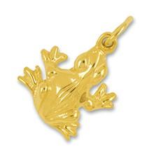 Anhänger, Charm Frosch in echt Gelbgold 375, 585 oder 750 massiv, Ketten- oder Bettelarmband-Anhänger