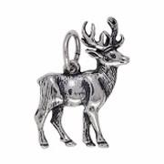 Anhänger Hirsch in echt Sterling-Silber 925 oder Gold, Charm, Ketten- oder Bettelarmband-Anhänger