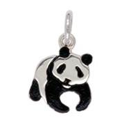 Anhänger Pandabär in Silber oder Gold, Charm E1263, Kettenanhänger oder Bettelarmband-Anhänger