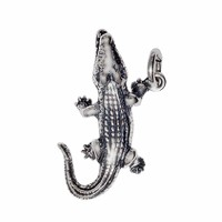 Anhänger Krokodil, Alligator in echt Sterling-Silber 925 oder Gold, Charm, Ketten- oder Bettelarmband-Anhänger