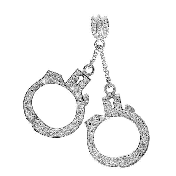 Anhänger Handschellen mit Zirkonia in echt Sterling-Silber 925, Ketten- oder Schlüssel-Anhänger