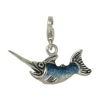 Anhänger Schwertfisch in echt Sterling-Silber 925 blau emailliert, Charm mit Karabiner, hochwertiger Ketten- oder Bettelarmband-Ein-/Anhänger