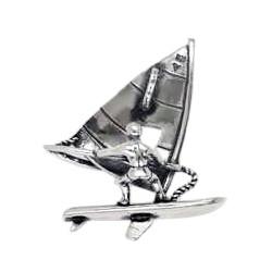 Anhänger Windsurfer in echt Sterling-Silber 925 und Gold, Ketten- oder Schlüssel-Anhänger