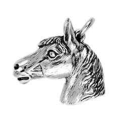 Anhänger Pferdekopf in echt Sterling-Silber 925 oder Gold, Ketten- oder Schlüssel-Anhänger