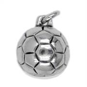 Anhänger Fussball in echt Sterling-Silber 925 oder Gold, Charm, Ketten- oder Bettelarmband-Anhänger