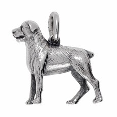 Anhänger Rottweiler, Hund in echt Sterling-Silber 925 oder Gelbgold 585, Ketten- oder Schlüssel-Anhänger