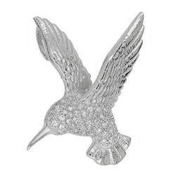 Anhänger Vogel in echt Sterling-Silber 925 mit Zirkonia, Ketten-Anhänger