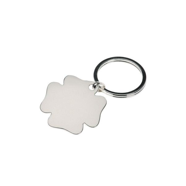 Schlüsselanhänger Kleeblatt hochwertig versilbert, Glücksbringer