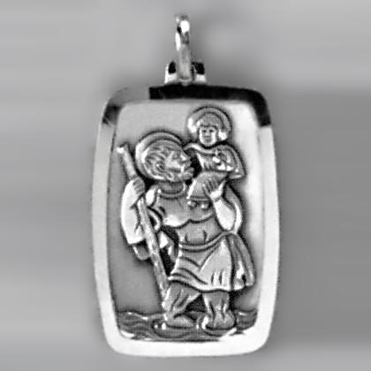 Anhänger Christophoros Plakette in echt Sterling-Silber 925 oder Gold, Ketten- oder Schlüssel-Anhänger