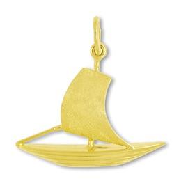 Anhänger Segelboot in echt Gold, Charm, Ketten- oder Bettelarmband-Anhänger