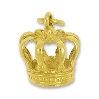 Anhänger Krone in echt Sterling-Silber 925 oder Gold, Charm, Ketten- oder Bettelarmband-Anhänger