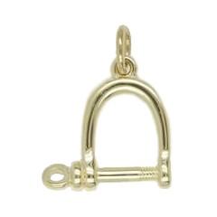 Anhänger Schäkel in echt Sterling-Silber 925 oder Gold, Charm, Ketten- oder Bettelarmband-Anhänger
