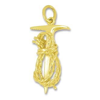 Anhänger Eispickel mit Seil in echt Gold, Charm, Ketten- oder Bettelarmband-Anhänger