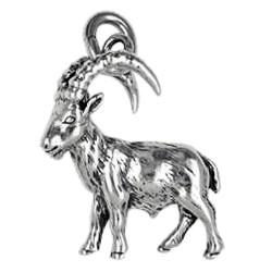 Anhänger Steinbock, Tierkreiszeichen, Sternzeichen in echt Sterling-Silber 925 oder Gold, Ketten- oder Schlüssel-Anhänger