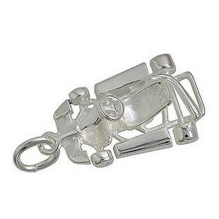 Anhänger Go-Kart in echt Sterling-Silber 925 oder Gold, Charm, Ketten- oder Bettelarmband-Anhänger