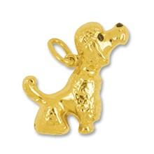 Anhänger Pudel, Hund in echt Gelbgold 375, 585 oder 750, Charm, Ketten- oder Bettelarmband-Anhänger
