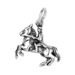 Anhänger Springreiter in echt Sterling-Silber 925 oder Gold, Charm, Ketten- oder Bettelarmband-Anhänger