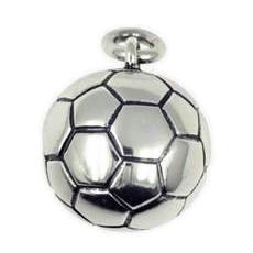 Anhänger Fussball in echt Sterling-Silber 925 oder Gold, Ketten- oder Schlüssel-Anhänger