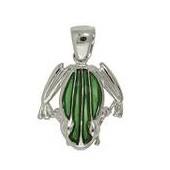 Anhänger Frosch in echt Sterling-Silber 925 grün emailliert, Ketten- oder Schlüssel-Anhänger