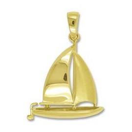 Anhänger Segelboot in echt Gold, Ketten- oder Schlüssel-Anhänger