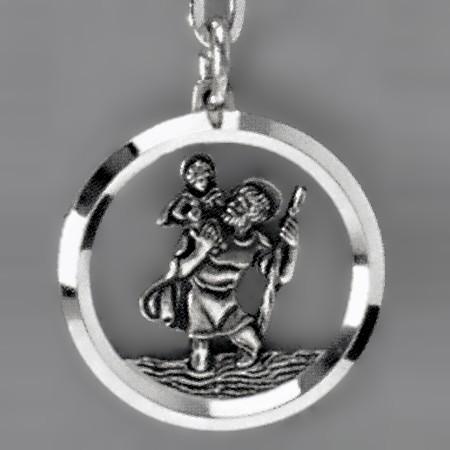 Anhänger Christophorus im Fluss in echt Sterling-Silber 925 oder Gold, Ketten- oder Schlüssel-Anhänger